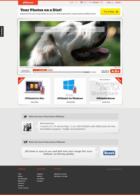JPEGminiのWebサイト